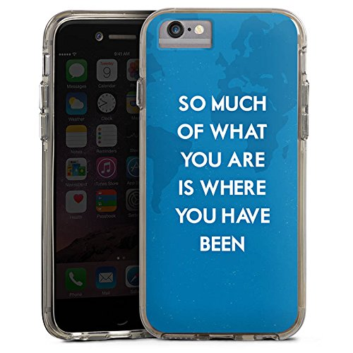 Apple iPhone 7 Plus Bumper Hülle Bumper Case Glitzer Hülle Phrases Sprüche Sayings Bumper Case transparent grau