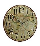 Mapa del mundo reloj de pared de madera decorativo