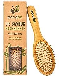 pandoo® ♻ Bambus Haarbürste mit Naturborsten   Vegan, umweltfreundlich   Natur-Bürste mit Bambusborsten für natürlich schöne Haare für Männer, Frauen & Kinder   Detangler