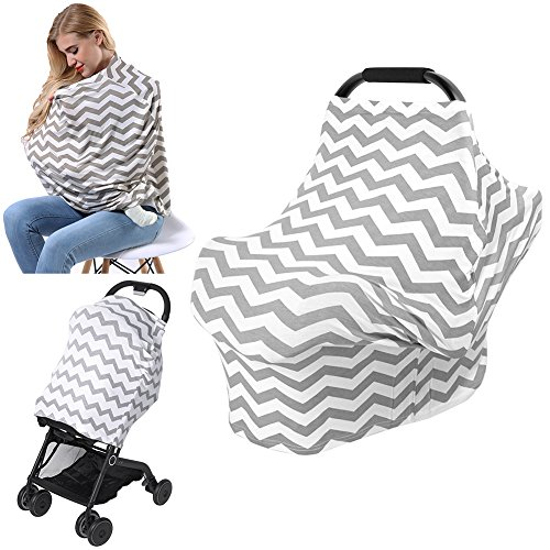 AiKKiddo Nursing Breastfeeding Cover Scarf,Baby Shopping Cart Stroller Covers,High Chair Car Seat Canopy,Breathable Stretchy soft fabric,Multi-Use Infinity Shawl for Infants Girls and Boys Fashion Scarf (Grey)