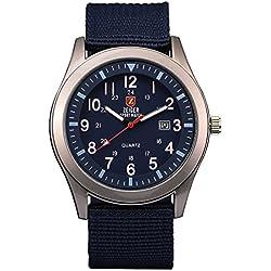 ZEIGER Militär Serie Herren Uhr Analog Quarz Sport Armbanduhr Datum Anzeiger W284