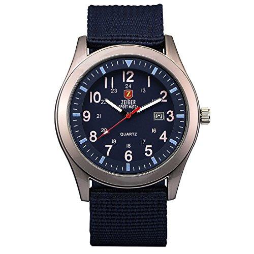 KZKR Herren Uhr Analog Quarzwerk mit Nylon Armband Blau Datum W494