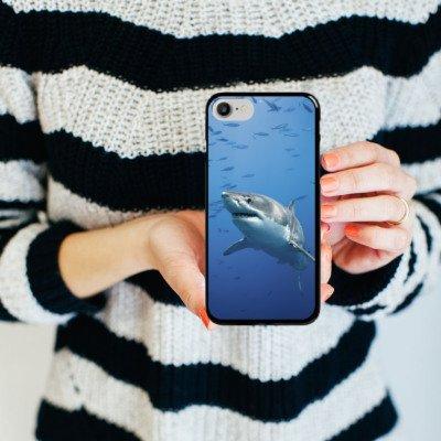 Apple iPhone X Silikon Hülle Case Schutzhülle Hai Fisch Weißer Hai Hard Case schwarz