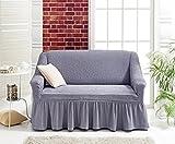 Stretch 2 Sitzer Bezug, 2 Sitzer Husse aus Baumwolle & Polyester. Sehr elastische Sofaueberwurf in grau / grey / gri. Sofabezug Hussen Sofahusse Stretch Husse / Stretch Hussen / Sofahusse 2-Sitzer / Sofabezug 2 Sitzer