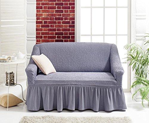 Stretch 2 Sitzer Bezug, 2 Sitzer Husse aus Baumwolle & Polyester. Sehr elastische Sofaueberwurf in grau / grey / Sofabezug Hussen Sofahusse Stretch Husse