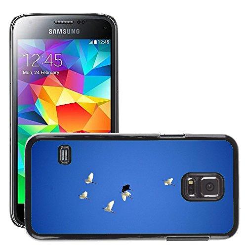 Just Phone Cover Bild Hart Handy Schwarz Schutz Case Cover Schale Etui // M00140142 Birds Sky Blue Fliegen Fly // Samsung Galaxy S5 MINI SM-G800 (Fly Cover Samsung S5 Mini)