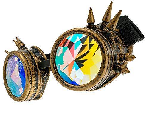 MFAZ Morefaz Ltd Schutzbrille Schweißen Sonnenbrille Welding Cyber LED Goggles Steampunk Goth Round Cosplay Brille Party Fancy Dress (Kaleidoscope Gold Spikes)