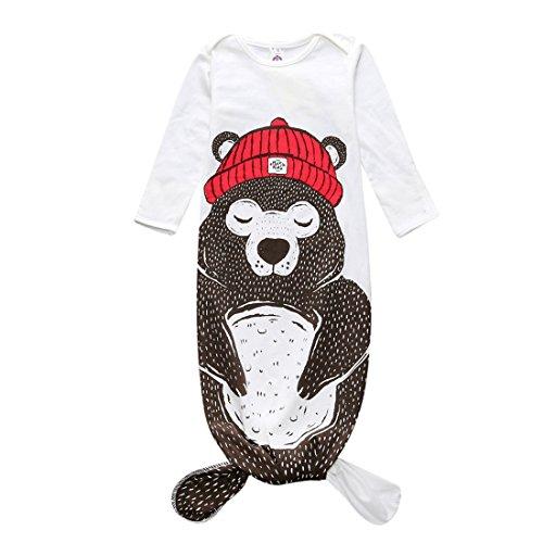 Hai Meerjungfrau Kostüm Schlafsack Schlummersack Langarm Schlafanzug Tier Outfit für Mädchen Jungen Bär 0-1 Jahre S (Bär Hai Kostüm)