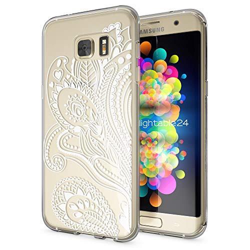 galaxy s 7 edge huelle NALIA Handyhülle für Samsung Galaxy S7 Edge, Slim Silikon Motiv Case Hülle Cover Crystal Schutzhülle Dünn Durchsichtig, Etui Handy-Tasche Backcover Transparent Bumper, Designs:Artificial Flowers