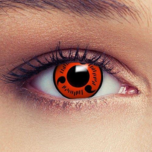Naruto Kontaktlinsen Halloween (Rote farbige Kontaktlinsen für Naruto Sharingan Sasuke Cosplay Farblisnen in rot Design: Naruto 1)