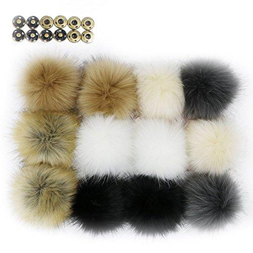 Wpqes fai da te 12pcs faux pelliccia di volpe soffice pompon palla con fibbia per maglieria cappello cappello, borse, abbigliamento, 10 cm (4