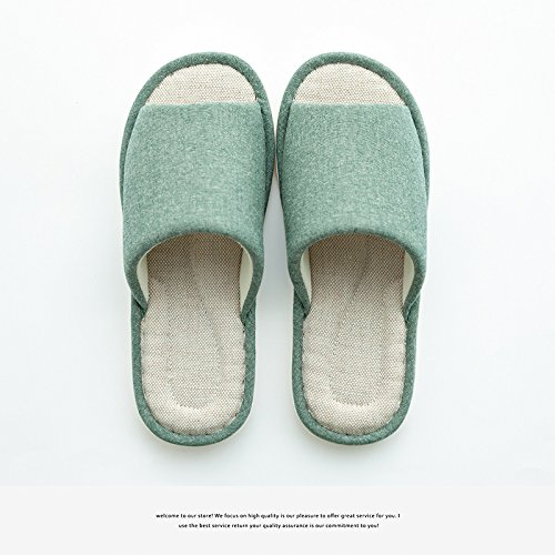 DogHaccd pantofole, Estate Home pantofole uomini indoor pavimenti in legno home massaggio sesso puro lino eroi pantofole femmina Il verde1