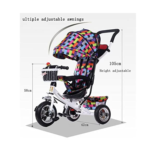 GSDZSY - Children Tricycle Stroller,4 In1 Foldable With Removable Push Handle Bar,Rubber Wheel,Adjustable Awning, 2-6 Years,Multi-colored GSDZSY  2