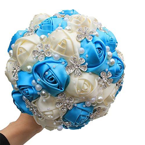 Xuanbao Multi Couleur Romantique mariée Mariage Tenue Bouquet de Fleurs de paupière Ruban de Mariage Fleurs de Bouquet de mariée (Blanc + Rouge) (Couleur : Sky Blue+Ivory White)