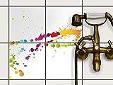 creatisto Bad-Fliesen Mosaik-Fliesen | Muster-Aufkleber Folie Sticker Küchenfolie Wanddeko | 20x20 cm Design Motiv Splash 2-4 Stück