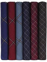 Caruso Italy Men's Italia Dark Checks Cotton Handkerchief (Pack of 6 and 12)