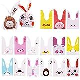 75 Piezas Bolsas Conejo de Caramelo Regalos Cumpleaños Bolsas Plástico para Confeti Forma de Conejo Bolsa de Galletas