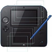 Films de Protection d'Ecran pour Nintendo 2DS avec Stylet, AFUNTA 3 Pack (6 Pièces) Films en PET pour Écran Supérieur et Inférieur, avec 1 Stylo Tactile Bleu en Plastique