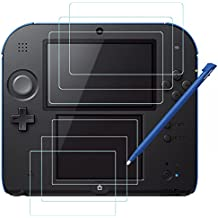 AFUNTA Protectores de Pantalla y Punteros Stylus para Nintendo 2DS, 3 Pack (6 Piezas) Película de Pet HD Clear para Pantalla Superior e Inferior, con 1 Pluma de Plástico Azul Touch Pen