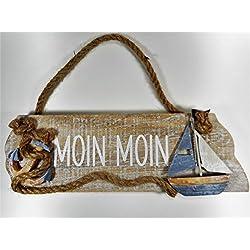 Moin Moin Schild Boot Schiff 25 cm Anker Beach Maritim Wohnen Deko GCG 100