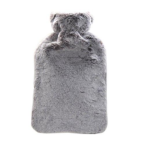 Preisvergleich Produktbild 2L Heißwasserflasche Gummi Mit Abdeckung - Große Heißwasser Tasche & Furry Animal Print Abdeckungen für Hot & Cold Relief (weihnachtsgeschenk) (grau)