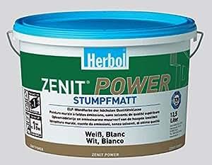 Herbol zenit power superdeckende eLF peinture mate terne blanc 12,5 l consommation :  120–140 ml/m² par couche