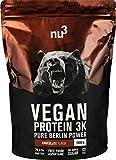 nu3 Vegan Protein 3K Chocolate Blend - veganes Proteinpulver aus 3-Komponenten-Protein mit 70% Eiweiß und leckerem Schokoladen-Geschmack (1 kg)