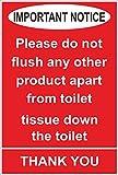 Etichetta - Sicurezza - Avvertenza - Catering per l'igiene Importanti avvertenze per favore non sciacquare nessun altro prodotto oltre al tessuto della toilette nel water grazie al segnale di sicurezza 10x15cm