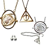 Collier et pendentif en métal. Série HARRY POTTER. Modèle 'Hermione - Retourneur de temps (Time-Turner)' - Boucles d'oreilles balles gratuites