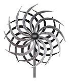Kleines Windrad Garten - Silber/Metall - Ø 40cm/Höhe: 180cm - Wetterfest - Hochwertige Qualität & Stabiler Standstab - Gartenstecker/Metallwindrad/Windräder - Silberwindrad