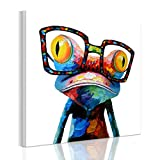RAIN QUEEN 50*50cm Multicolor Animal Grand Format Impression Sur Toile Bois Châssis Wall Art (50X5cm Grenouille)...