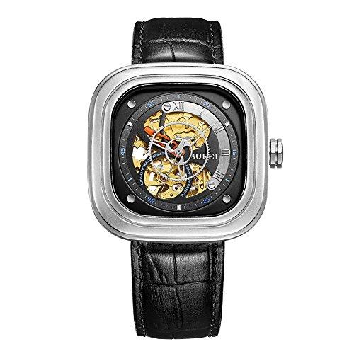 Edelstahl Automatik Quadrat Zifferblatt Skelett Armbanduhr mit schwarzem Lederband (Skelette Zum Halloween Verkauf)