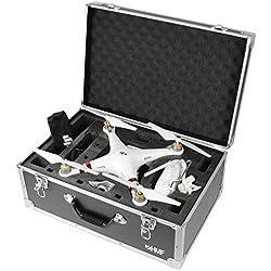 HMF 18601-02 Coffre de transport, approprié au drone Phantom 3 Standard, Professional, Advanced, max. 5 batteries, 54 x 38 x 25 cm, couleur noire