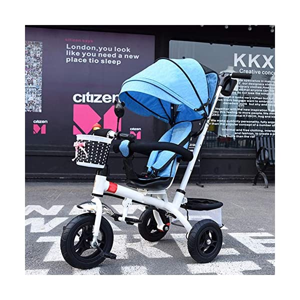 GSDZSY - Children Tricycle Adjustable seat and handlebar, Detachable putter and fence, Adjustable awning, Push rod can control steering, 1-5 years old GSDZSY ❀ Material: High carbon steel + ABS + rubber wheel, suitable for children from 6 months to 6 years old, maximum load 30 kg ❀ Features: The height of the push rod can be adjusted, the seat can be rotated 360; the adjustable umbrella can be used for different weather conditions ❀ Performance: high carbon steel frame, strong and strong bearing capacity; rubber wheel suitable for all kinds of road conditions, good shock absorption, seat with breathable fabric, baby ride more comfortable 2