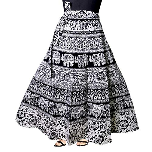 Kalpit Creations Women's Cotton Printed Wrap Around Skirt in Assorted Design and prints in Black and white colour Free Size