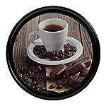 "Ornamin Tablett Ø 37 cm ""Kaffeegenuss"", rund | praxiserprobtes Serviertablett aus Kunststoff mit Antirutsch-Oberfläche | Gastrotablett, Profitablett, Kellnertablett, Gastronomiequalität, Küchentablett, Cafétablett, Bistrotablett"