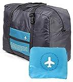 Versión coreana de la bolsa de viaje paquete de admisión plegable de gran capacidad portátil acuático maleta de nylon de múltiples funciones (azul)