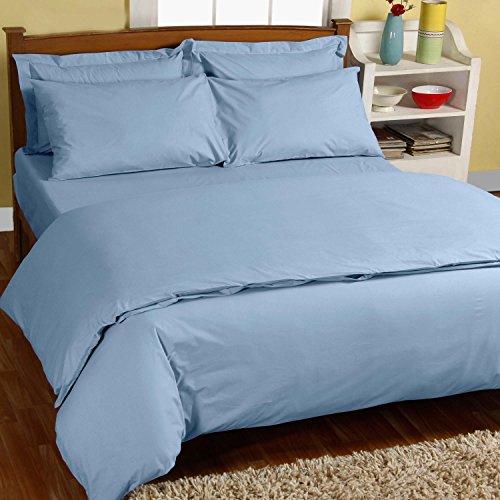 Homescapes Bettwäsche-Set 3-teilig Bettbezug 240 x 220 cm mit Kissenhüllen 80 x 80 cm hellblau 100% reine ägyptische Baumwolle Fadendichte 200 Perkal-Bettwäsche -