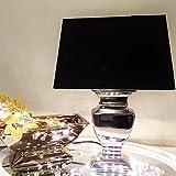 TOP Angebot - große Tischleuchte Tisch Lampe Leuchte 52 cm silber - Schirm schwarz rechteckig - Shabby Landhaus