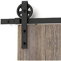 AiHom 244cm bois moderne Noir Porte coulissante en porte de grange Grange Armoire Hardware Kit de rail pour une porte