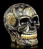 Figuren Shop GmbH Gothic Totenkopf mit Goldenen Verzierungen - Schwarz & Gold | Fantasy Dekoartikel, Handbemalt