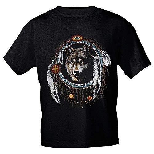 Fan-O-Menal Textilien Camiseta con Print - Atrapasueños Wolf Muelles - YF225 Negro - Tamaño S-2XL - Negro, M