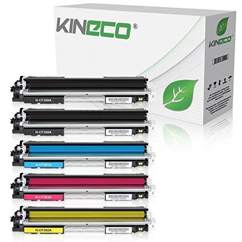 5 Series Toner (5 Kineco Toner kompatibel zu HP CF350A CF351A CF352A CF353A Color Laserjet Pro MFP M176n, M177fw, M170 Series - Schwarz je 1.300 Seiten, Color je 1.000 Seiten)