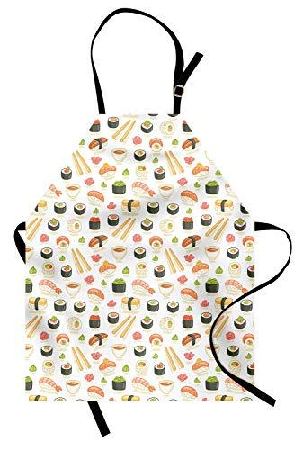 (Japan-Schürze, Gekritzel-Ikonen der asiatischen Lebensmittel-Muster-Illustration für japanische Sushi-Bars Restaurants, Unisexküche-Schellfisch-Schürze mit verstellbarem Hals für das Kochen der Backen)