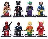 SUPER HERO & VILLAINS 8pc Minifigure WONDER WOMAN Joker DEADPOOL Flash DC MARVEL by S Brand