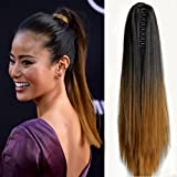 Neverland 20 (50cm) Ombre Two Tone long clip droite dans / sur ondules cheval queue de cheval Extension de cheveux postiche Griffe 1B#/27#