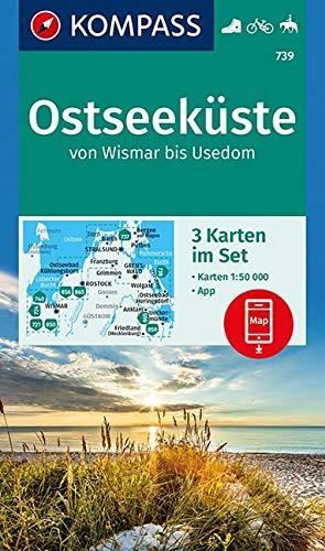 Ostseeküste von Wismar bis Usedom: 3 Wanderkarten 1:50000 im Set inklusive Karte zur offline Verwendung in der KOMPASS-App. Fahrradfahren. Reiten. (KOMPASS-Wanderkarten, Band 739)