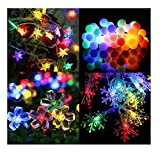 #10: Citra Pack of 4 Crystal Multi Colour Led String Strip Light Star Snow Flake Ball Swastika and Other Random Shapes - Multi Colour