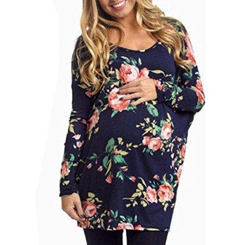 Hansee Frauen Floral Bluse Plissee Langarmshirts Casual Tunika Shirts für Mutterschaft T-Shirt (L) (Hoher Schlüsselloch Hals)