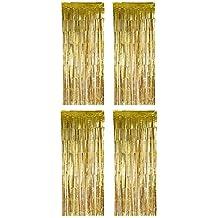 Anladia Gold 2x1 Meter Lametta Vorh/änge T/ür Fenster Fransen Vorhang Zimmer Dekoration